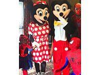 Kids birthday CLOWN MASCOT Entertainer MINNIE MICKEY MOUSE Childrens hire Balloon modeller SPIDERMAN
