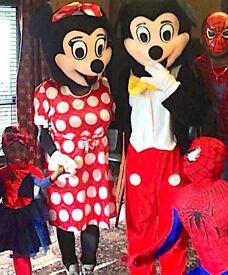 Childrens MASCOTS & CLOWN Entertainer BATMAN MINNIE MICKEY SPIDERMAN face painter painting MAGICIAN