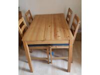IKEA JOKKMOKK WOODEN DINING TABLE & 4 CHAIRS SOLID PINE ANTIQUE STAIN