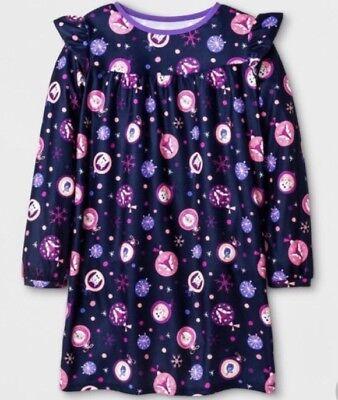 CAT & JACK Girls' L/S Christmas Nightgown Navy Blue - Deer, Cats, Birds