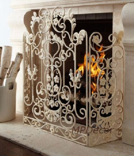 Ornate Scroll Fire Screen French Country Fireplace Screen Flowers Antique White