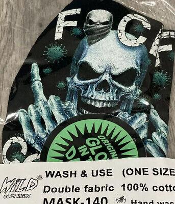 Mund Nasen Schutz Gesichtsmaske Glow In The Dark Schwarz Totenkopf Skelett Neu