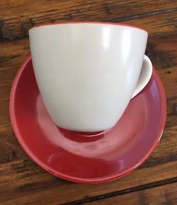 Starbucks Red And White Pearl Espresso Demitasse Cup & Saucer 2005