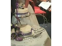 Silver 2 tier hooped wedding cake stand