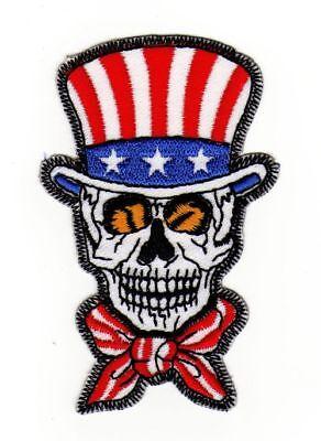 af35 Totenkopf Flagge USA Skull Aufnäher Bügelbild Biker Applikation 5,6 x 9,0cm - 6x9 Usa-flagge