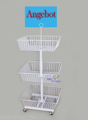 3er Gitterkorb Wühlkorb Verkaufständer Warenständer inkl. 4 Rollen