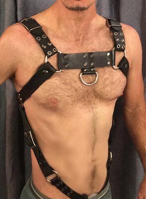 Men Leather Harness Body Chest Armor Buckles BDSM Bondage Restraint Belt SM (Leather Body Armor)