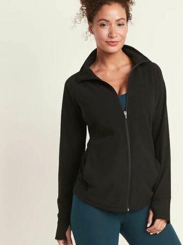 New Maternity Semi Fitted Micro Performance Fleece Zip Jacket NWOT Black Size XL