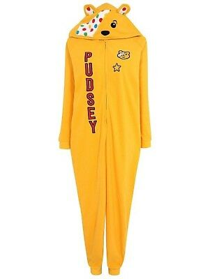 Children In Need Pudsey Bear Jumpsuit Adult Various sizes Fancy Dress - Pudsey Bear Fancy Dress Kostüm