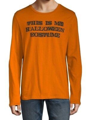 City Streets HALLOWEEN Is My Costume Orange Long Sleeve Shirt Adult Small NEW - Orange City Halloween