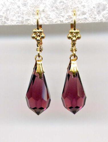 AMETHYST BRIOLETTE cut-crystal Teardrop Earrings 14K Gold gp *Vintage Czech
