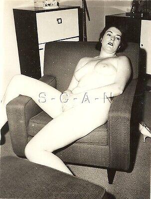 Original Vintage 1940s-50s Nude Sepia RP- Endowed Woman Sitting in Chair