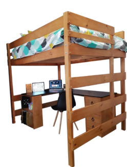 Solid pine single loft bed