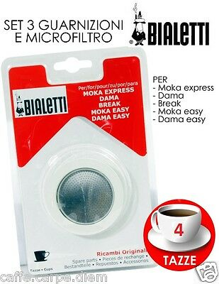 Bialetti Replacement Gasket + Tag Moka 4 Mugs Gaskets Express Draughts Cups (Bialetti Moka Express Replacement Gasket)