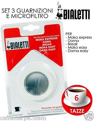 Bialetti Spare Parts 3 Seals 1 Platelet Moka 6 Cups Rubber R