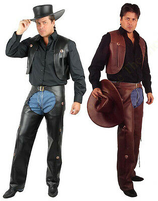 ADULT MENS COWBOY WESTERN COSTUME WILD WEST FAUX LEATHER CHAPS & VEST AND - Cowboy Chaps Costume