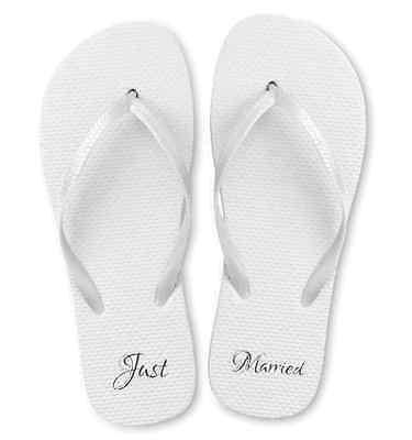 Just Married White Wedding Flip Flops.  Great for Beach Weddings.  Size Medium - Flip Flops For Weddings