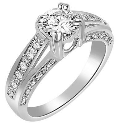 Solitaire Engagement Ring I1 G 1.10 Ct Natural Diamond Prong Set 14K White Gold