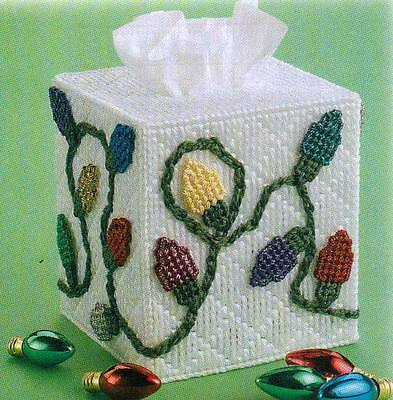 CHRISTMAS LIGHTS TISSUE BOX COVER PLASTIC CANVAS PATTERN INSTRUCTIONS