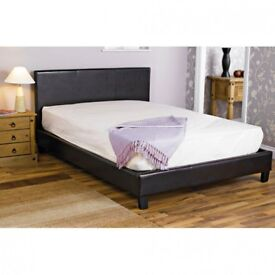 AMAZING SALE IN AUG == CASH ON DELIVERY - LEATHER BED-DOUBLE FRAME -BLACK-BROWN- WITH MATTRESS