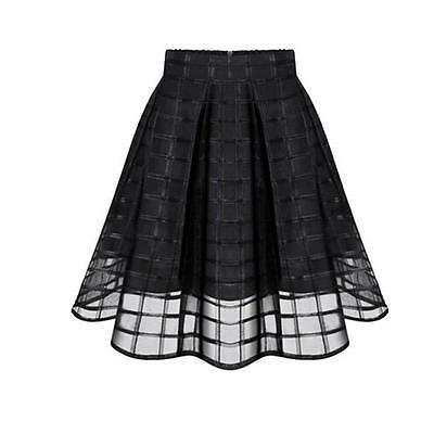 Women Organza Midi Skirts Summer High Waist Zipper Pleated A Line Tulle Skirts