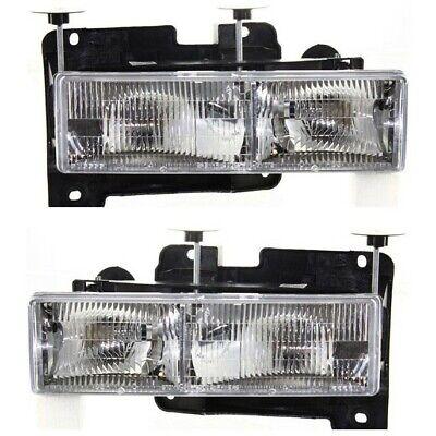 1988-1998 Chevy GMC C10 C/K Truck Headlights Lamps Pair Chrome (Bulbs Included)