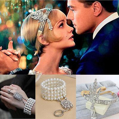 Great Gatsby 1920s Vintage Bracelet Headpiece Bridal Pearls Headband Jewelry Set - 1920s Headpiece