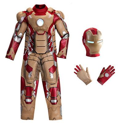 Disney store Marvel Avengers Ironman Deluxe Costume Child 4 XS 7-8 MED  w Gloves ()