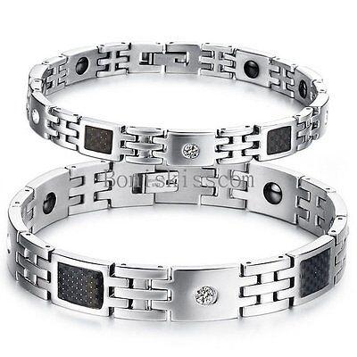 Men's Women's Bracelet Black Carbon Fiber Magnetic Therapy Elements Magnetic