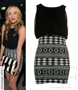 NEW-LADIES-WOMENS-BODYCON-CELEB-BLACK-PRINTED-SKIRT-PARTY-DRESS-8-10-12-14