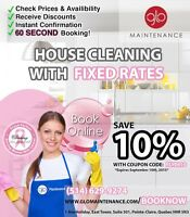 FIXED RATE House Cleaning BOOK ONLINE - www.glomaintenance.com