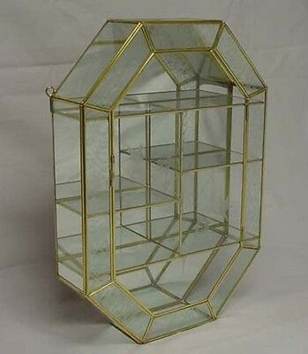 17'' Tall Frosted trim Glass Brass CURIO CABINET BOX for small Figurines