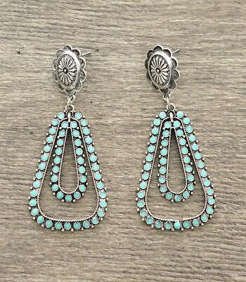 Cowgirl Western Delicate Pretty Faux Turquoise Long Dangle Post Silver Earrings