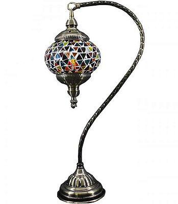Turkish Handmade Glass Mosaic Lamp Table Light Swan Neck Valentines Gift