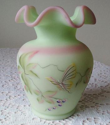 """2000 Fenton Art Glass Lotus Mist Burmese Vase Hand Painted """"Berry and Butterfly"""""""