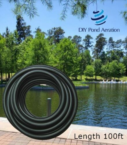 """NEW SELF Sinking Hose 3/8"""" ID 100-Ft Roll Weighted Black Poly Tubing Airline"""