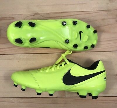 b748d9190 Nike Tiempo Genio II Leather FG Soccer Cleats Mens Size 8 Volt Blk  819213-707