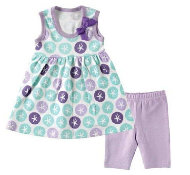 Hudson Baby Girls Purple Sand Dollar Printed Dress & Cropped