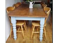 Solid wood, large dining table and 6 chairs