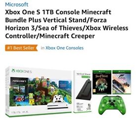 Xbox One S 1TB Minecraft Bundle + Verticle Stand + Extra Controller + Sea Of Theives + Forza