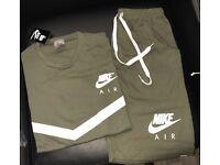 Khaki nike t-shirt&shorts set