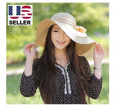 Fashion Chic Womens Girl Straw Cap Wide Large Brim Summer Beach Sun Hat - Beige