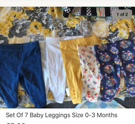 7 baby leggings 0-3 months