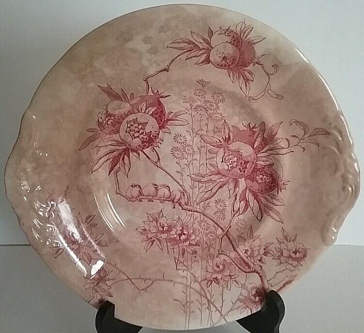 Doulton Burslem Pomegranate Platter Red & White Aesthetic Pattern Birds Florals