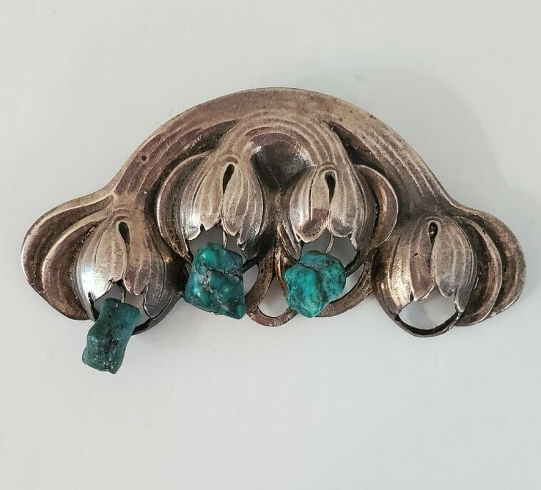 """Native American Indian Sterling Silver Pin Turquoise 3"""""""