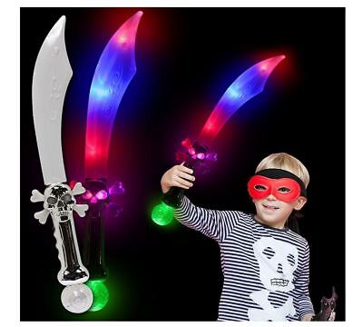 Pirate Light-Up Buccaneer Skull Sword LED Flashing Glow Costume Party Birthday - Led Light Sword
