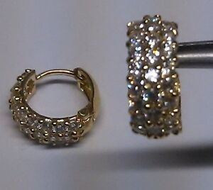 14K Solid Yellow Gold Huggie Earrings Iced out