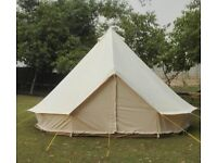 5m Bell Tent with beds, duvets, tables and chandelier