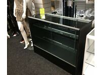 NEW SHOP DISPLAY COUNTERS 1200mm x 450mm MAPLE or BLACK GLASS RETAIL CABINET DOORS FLATPACKED GLASS