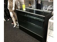 NEW SHOP DISPLAY COUNTERS 1200mm x 450mm MAPLE AND BLACK GLASS RETAIL CABINET DOORS FLATPACKED